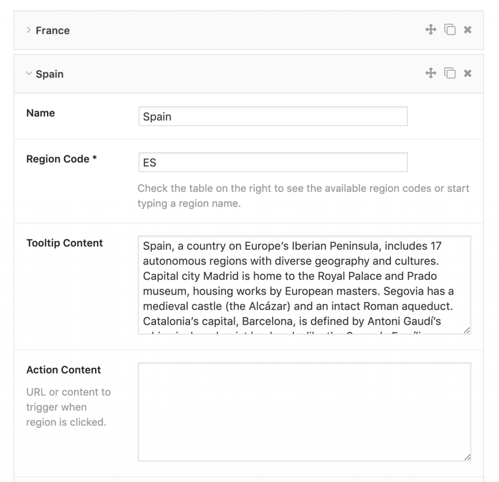Administration screenshot of the regions panel of the plugin