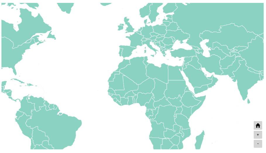 World map with zoom controls