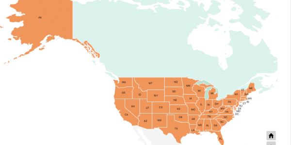 US map with states in a North America map