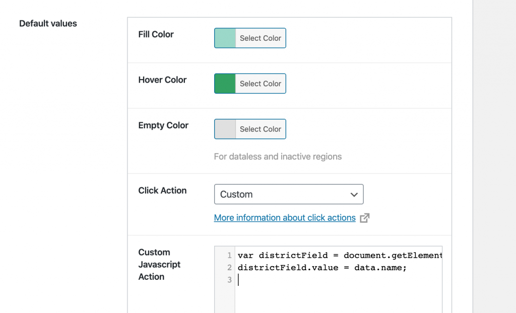 options for the custom javascript action