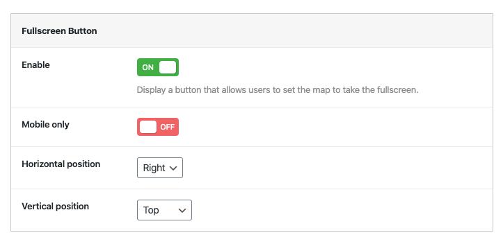 Go fullscreen button options
