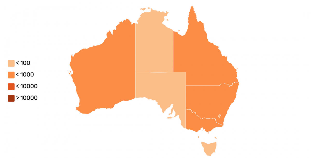 Map of Australia with covid-19 confirmed cases as of 30 of March