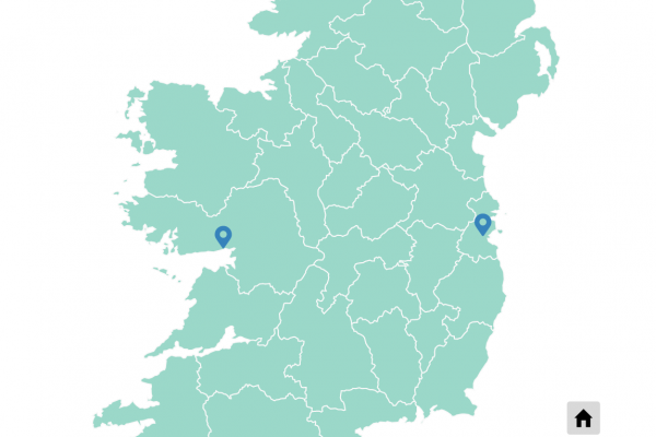 Ireland Map divided by historical counties