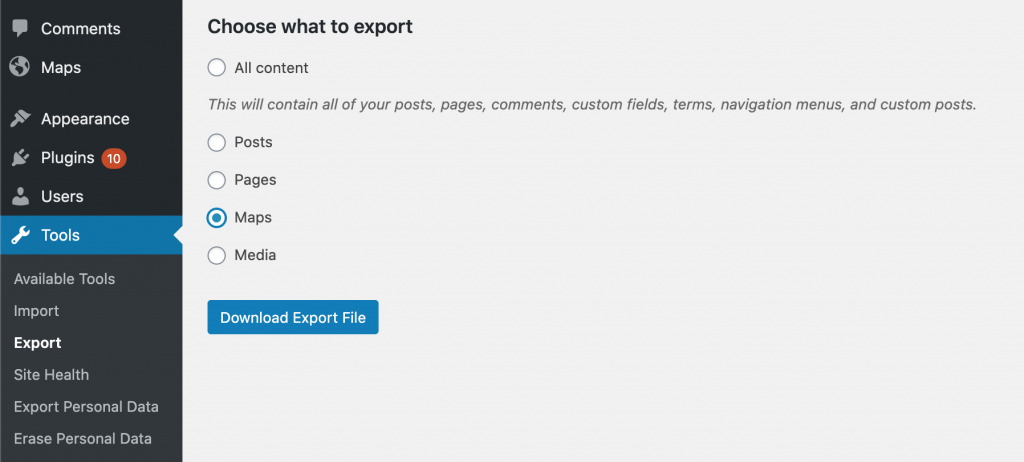 Export and Import Maps