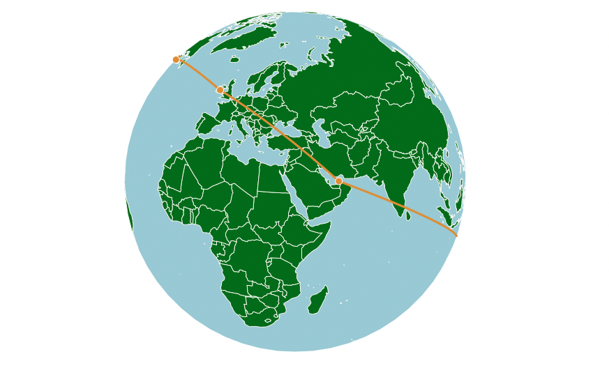 Globe map with lines
